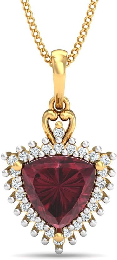 P.N.Gadgil Jewellers 18kt Ruby, Diamond Yellow Gold Pendant