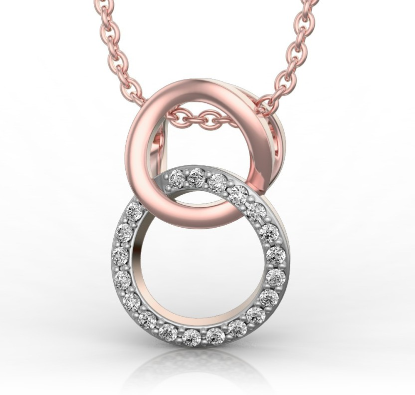 I Love Diamonds Pink and Sparkle Hoops 18kt Diamond Pendant