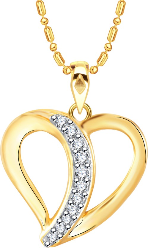 Vidhi Jewels Heart Diamond Studded 18K Yellow Gold Cubic Zirconia Alloy, Brass Pendant