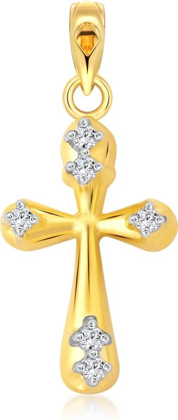 Vighnaharta Lord Cross 18K Yellow Gold Cubic Zirconia Alloy Pendant