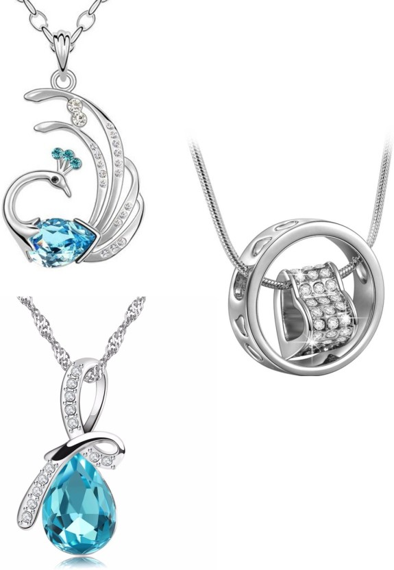 Om Jewells Combo of Peacock, Drop & Heart in Ring Pendant Rhodium Crystal Alloy Pendant
