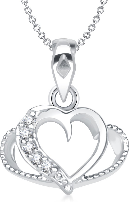 VK Jewels Valentine Days Heart Shape Rhodium Cubic Zirconia Alloy Pendant