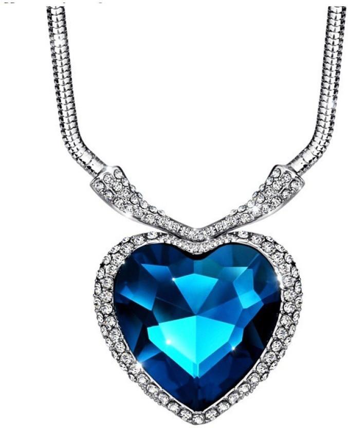 WearYourFashion Ocean Heart Platinum Swarovski Crystal Alloy Pendant