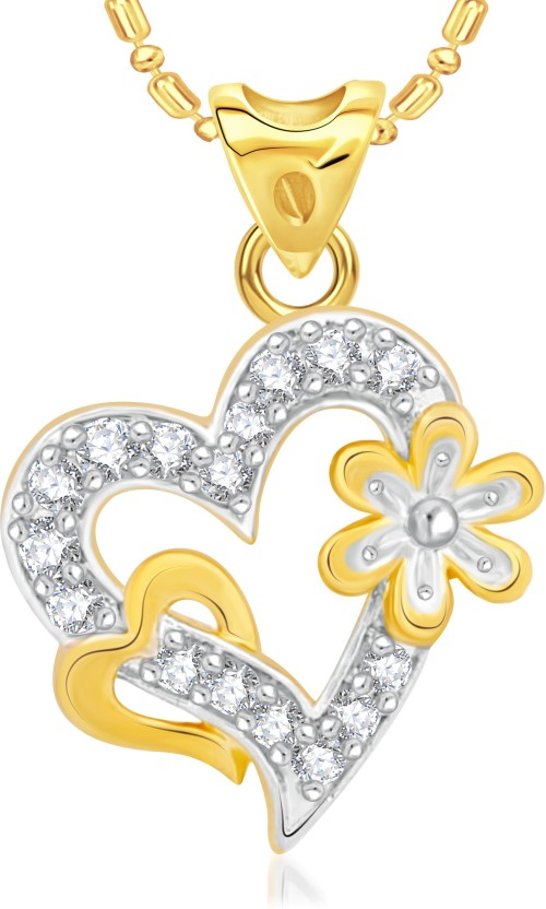 VK Jewels Fresh Flower Alloy Cubic Zirconia 18K Yellow Gold Plated Ring