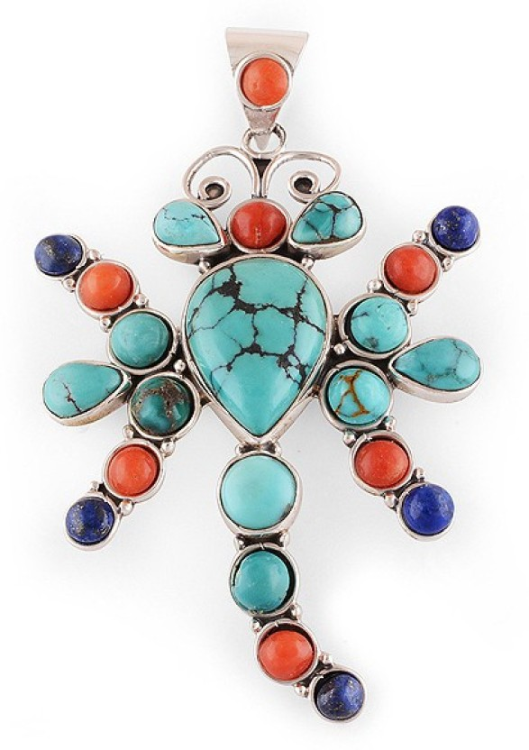 Silver Prince Designer Coral, Lapis Lazuli, Turquoise Silver Pendant