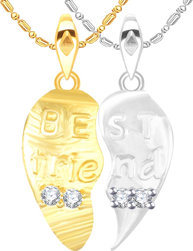 Vidhi Jewels Best Friend Broken Heart 18K Yellow Gold Cubic Zirconia Alloy, Brass Pendant