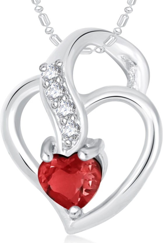 VK Jewels Well Crafted Heart Valentine Rhodium Cubic Zirconia Alloy Pendant