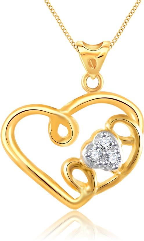 Vidhi Jewels Love 18K Yellow Gold Cubic Zirconia Alloy, Brass Pendant