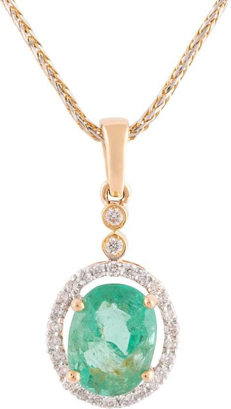 Wite&Gold Graceful Mor 18K Yellow Gold Diamond, Emerald, Ruby Yellow Gold Pendant