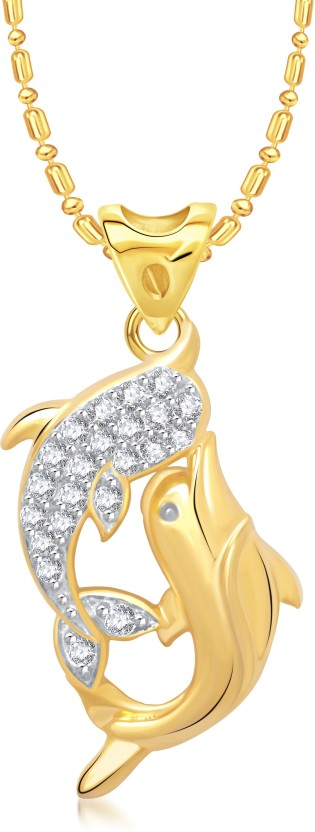 VK Jewels Dual Dolphin Yellow Gold Alloy Pendant