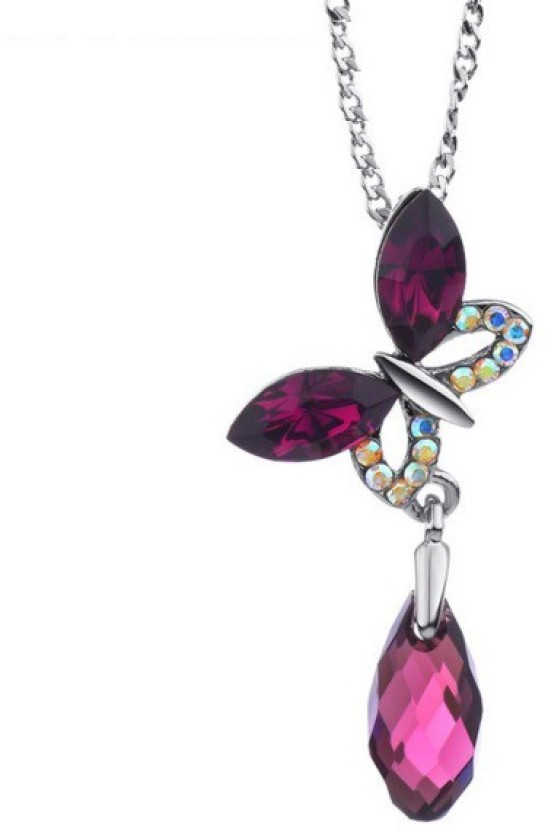 WearYourFashion Drops and Butterfly Platinum Swarovski Crystal Alloy Pendant