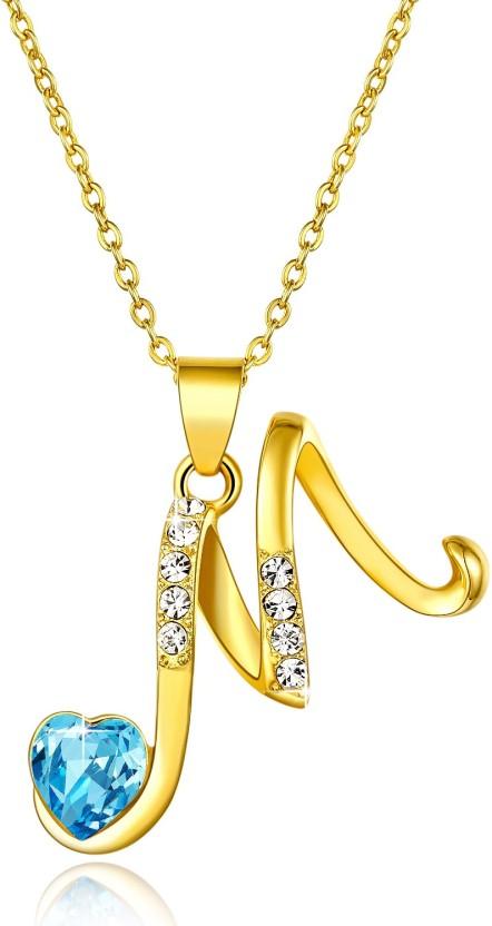 Yellow Chimes Alphabet Collection Pendant Rhodium Swarovski Crystal Metal Pendant