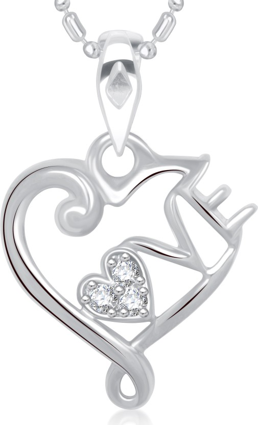VK Jewels Love Heart Valentine Rhodium Cubic Zirconia Alloy Pendant