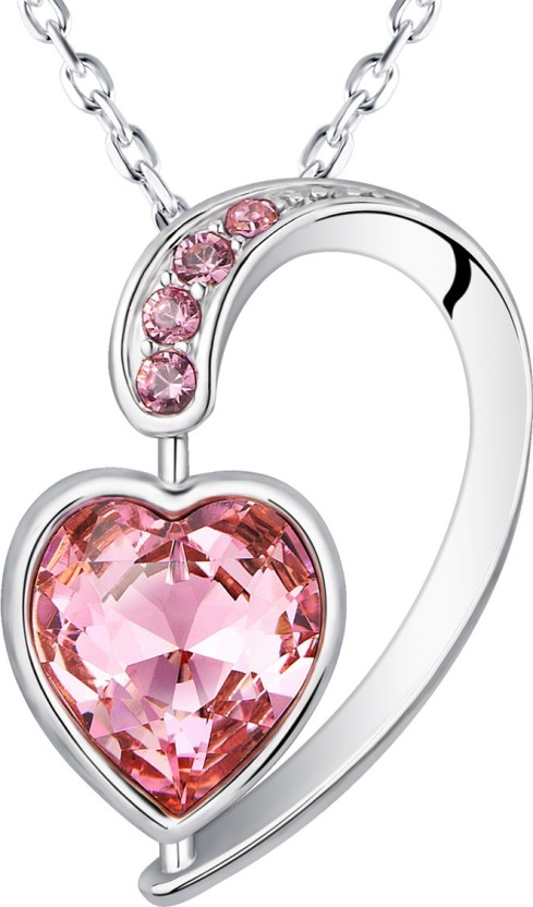Yellow Chimes Heart Inside Heart Rhodium Swarovski Crystal Alloy Pendant