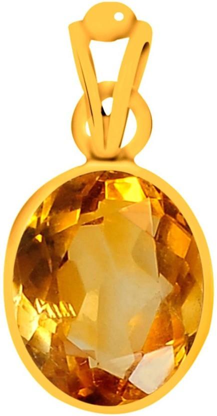 Clara Citrine Sunehla 3 carat or 3.25ratti Panchdhatu Yellow Gold Citrine Silver Pendant