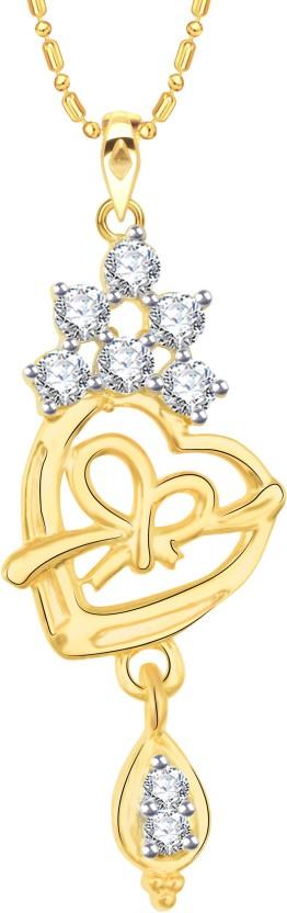 Vidhi Jewels Heart Diamond Studed 18K Yellow Gold Cubic Zirconia Alloy, Brass Pendant