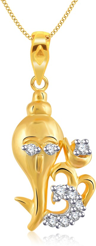 Vidhi Jewels Ganesh 18K Yellow Gold Cubic Zirconia Alloy, Brass Pendant
