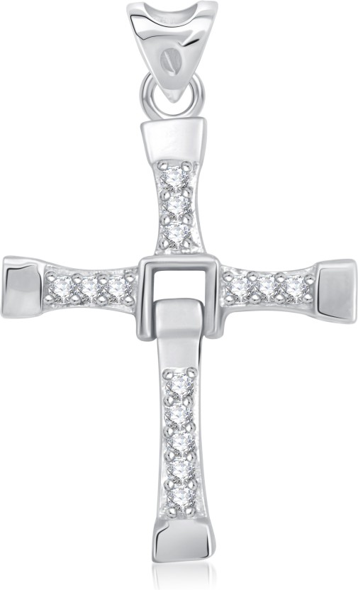 VK Jewels Fast And Furious Vin Diesel Inspired Cross Rhodium Cubic Zirconia Alloy