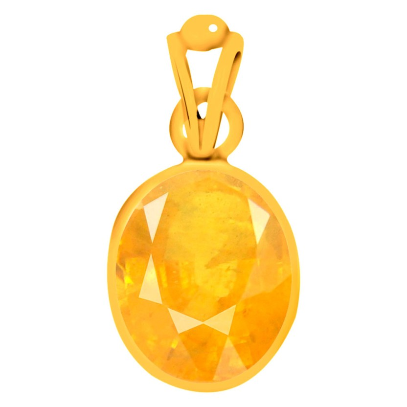 Clara Yellow Sapphire Pukhraj 6.5 carat or 7.25ratti Panchdhatu Yellow Gold Sapphire Silver Pendant