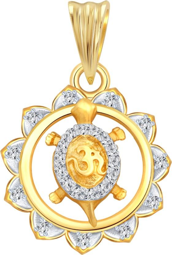 Vighnaharta Framing Om Tortoise 18K Yellow Gold Cubic Zirconia Alloy Pendant