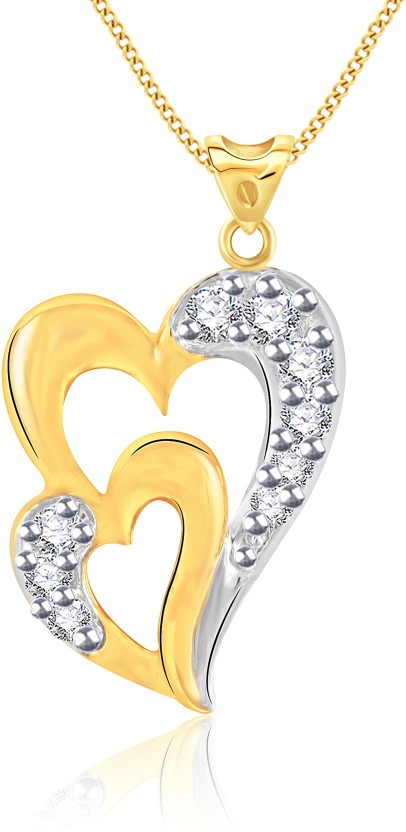 Vidhi Jewels Double Heart 18K Yellow Gold Cubic Zirconia Alloy, Brass