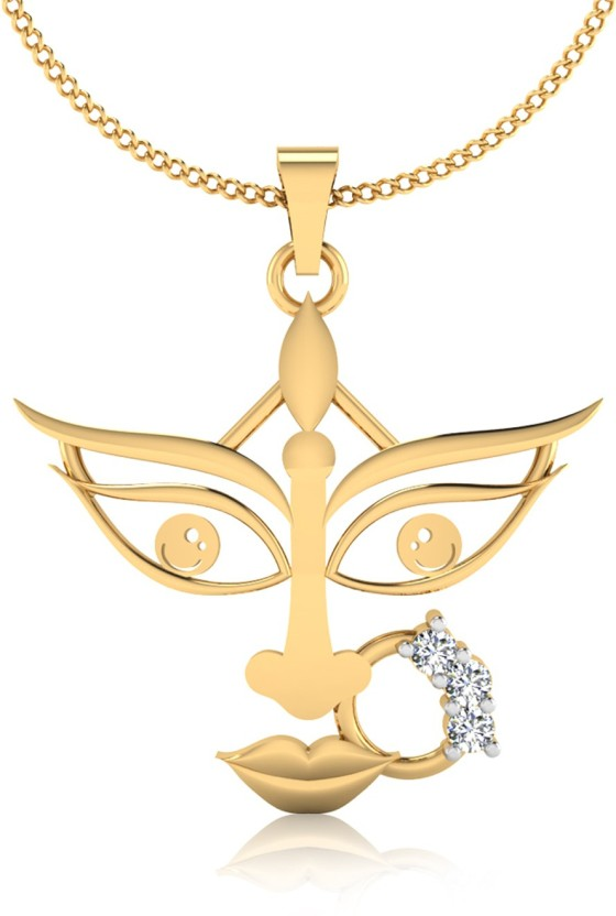IskiUski The Goddess Durga Diamond 22K Yellow Gold Swarovski Zirconia Sterling Silver Pendant