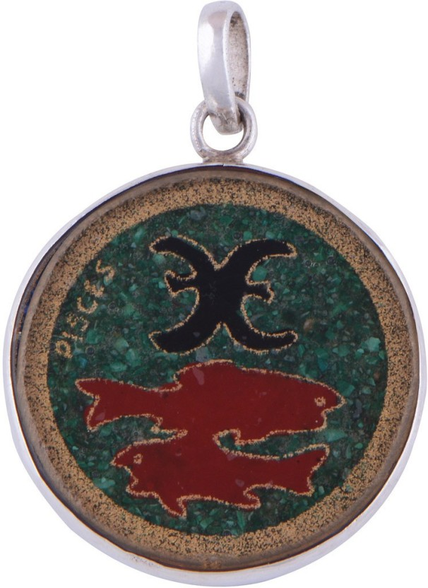 Silver Prince Designer Turquoise, Coral, Lapis Lazuli Silver Pendant