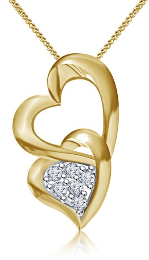 Kataria Jewellers Hearts Yellow Gold plated Sterling Silver Pendant