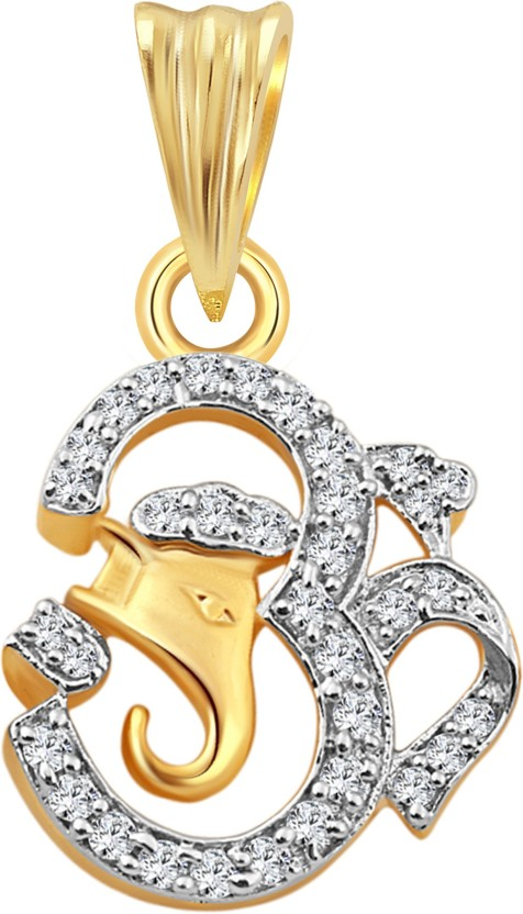 Vighnaharta Lord Om Ganesh 18K Yellow Gold Cubic Zirconia Alloy Pendant