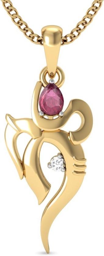 Vachya Ganpati 18kt Diamond, Ruby Yellow Gold Pendant
