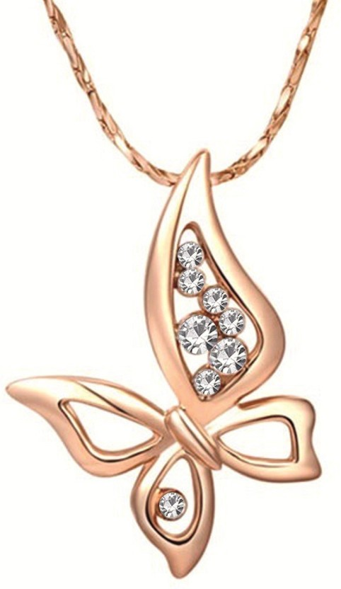 Om Jewells Wispy Butterfly 24K Rose Gold Crystal Alloy Pendant