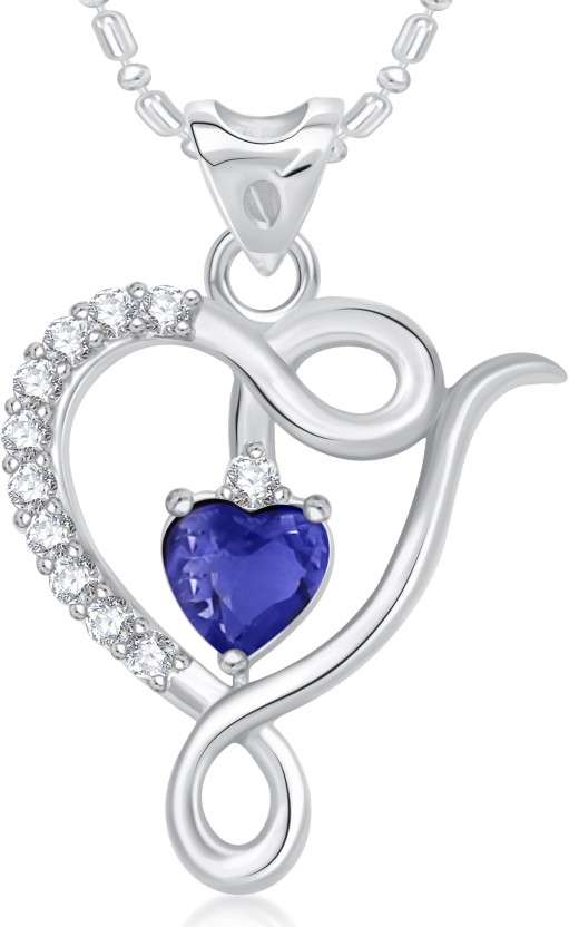 VK Jewels Well Crafted Blue Stone Heart Valentine Rhodium Cubic Zirconia Alloy Pendant
