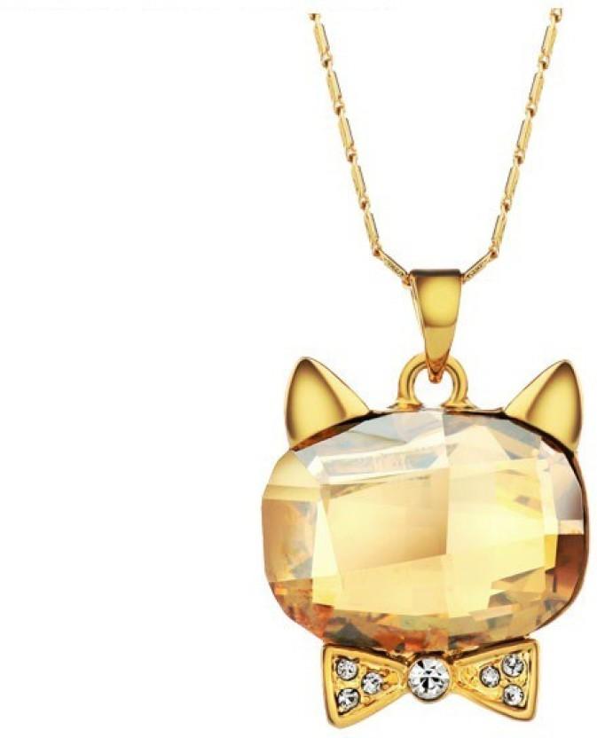 WearYourFashion Golden Kitty 14K Yellow Gold Swarovski Crystal Alloy Pendant
