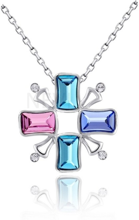 Nevi Cross Rhodium Swarovski Crystal Alloy, Crystal Pendant