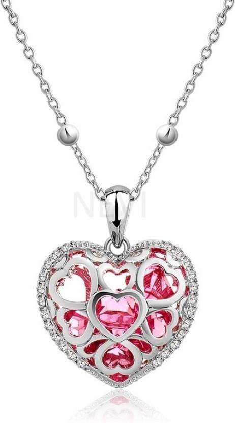 Nevi Rhodium Swarovski Crystal Alloy, Crystal Pendant
