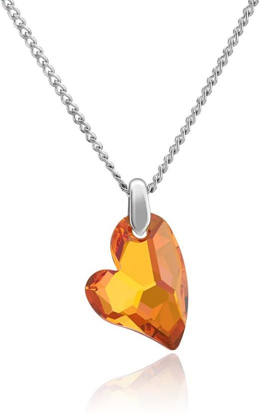 Mahi Devoted 2 U Heart Rhodium Swarovski Crystal Brass, Alloy Pendant