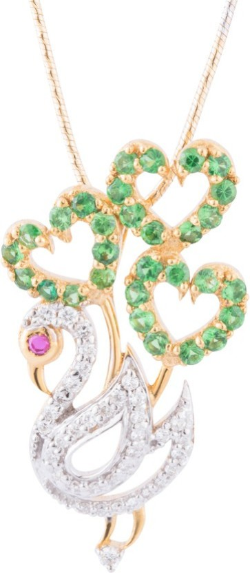 Wite&Gold Exotic Peacock 18K Yellow Gold Diamond, Emerald, Ruby Yellow Gold Pendant