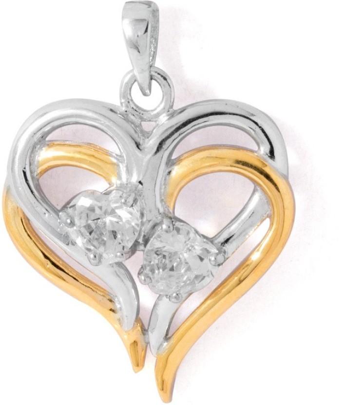 Voylla Semi pricious Love Plain Rhodium Cubic Zirconia Sterling Silver Pendant