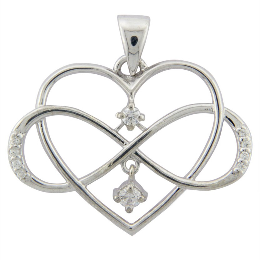 Treta Sparkling Heart Shape Cubic Zirconia Sterling Silver Pendant