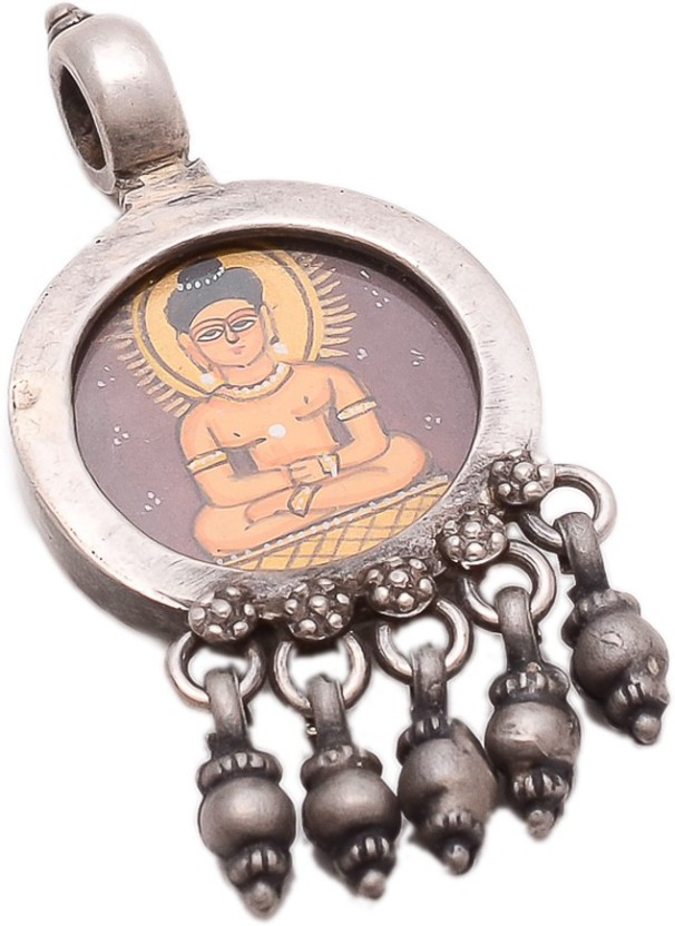 Jewels India Gautam Buddha Miniature Painting Pendant Made of Sterling Silver