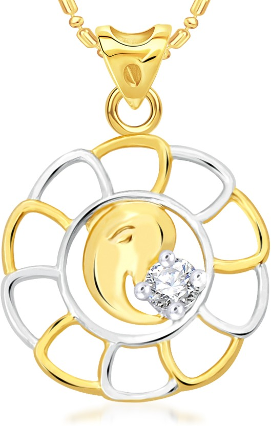 VK Jewels Maheshwaram 18K Yellow Gold Cubic Zirconia Alloy Pendant