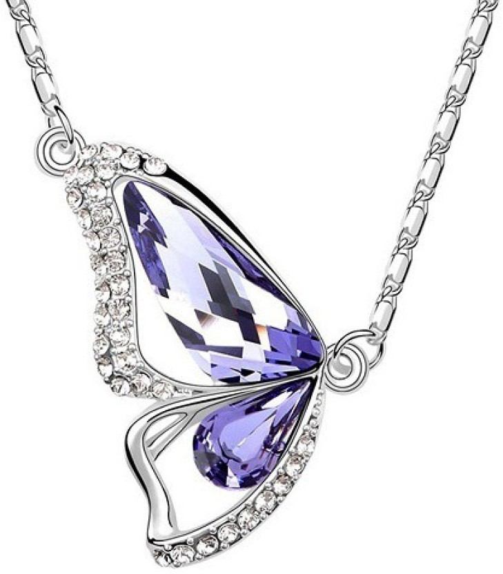 Girlz! Swarovski Element Like Imported Austrian Crystal Platinium Plated Butterfly - Cocktail Jewelry Crystal Alloy Pendant