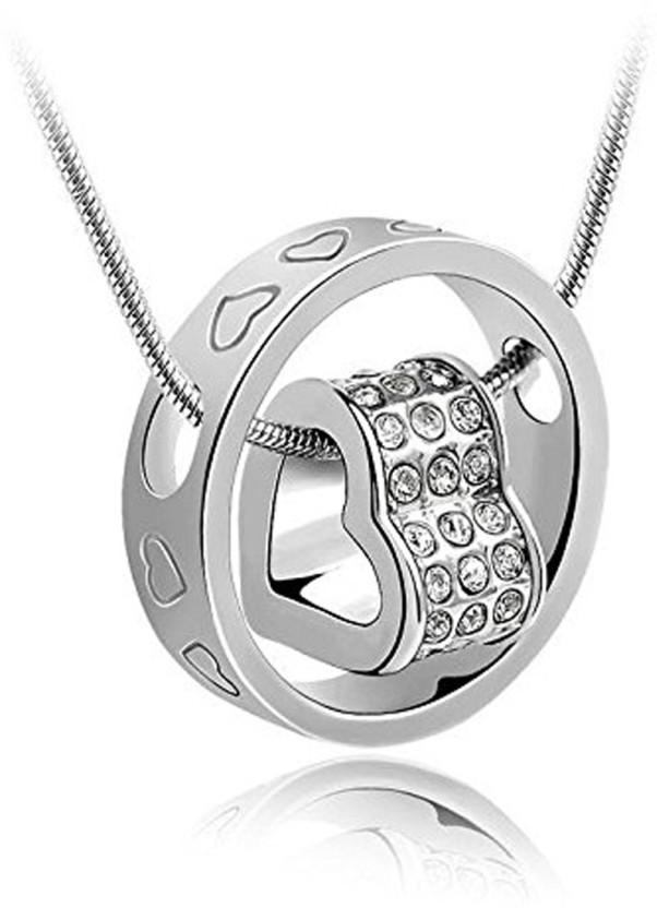 Vidhi Jewels Heart Ring Rhodium, Silver Cubic Zirconia Alloy, Brass Pendant
