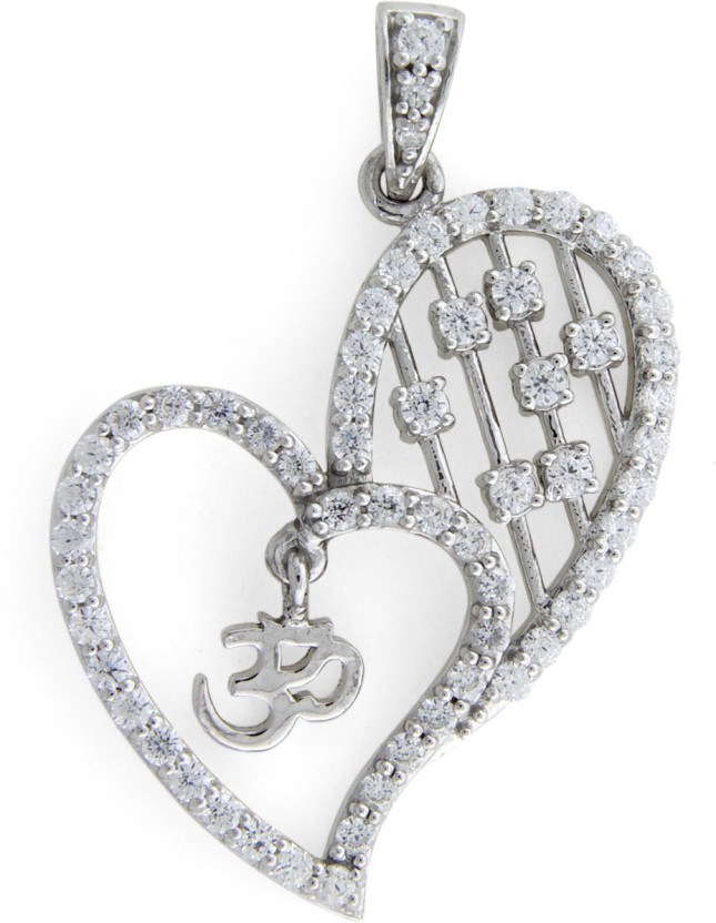 "Treta The Divine Heart Shape ""OM\"" Sterling Silver Pendant"