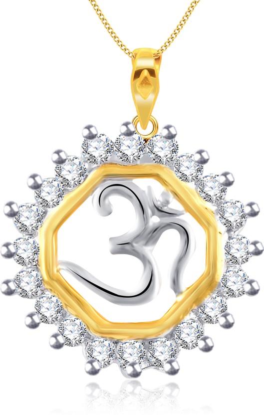 Vidhi Jewels Om 18K Yellow Gold Cubic Zirconia Alloy, Brass Pendant