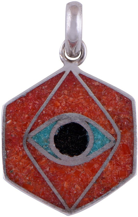 Silver Prince Designer Coral, Turquoise, Lapis Lazuli Silver Pendant