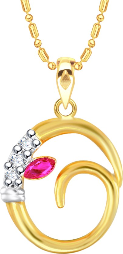 VK Jewels Initial Letter O Ganesh 18K Yellow Gold Cubic Zirconia Alloy Pendant