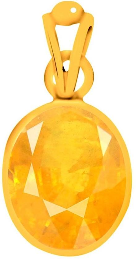 Akshay Gems Yellow Sapphire Pukhraj 3 carat or 3.25ratti Panchdhatu Yellow Gold Sapphire Silver Pendant