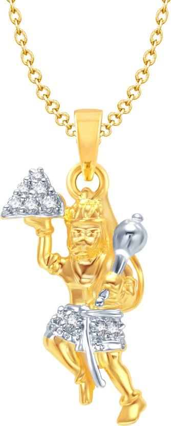 Amaal Hanuman God Pendant With Chain Yellow Gold Cubic Zirconia, Diamond Alloy Pendant