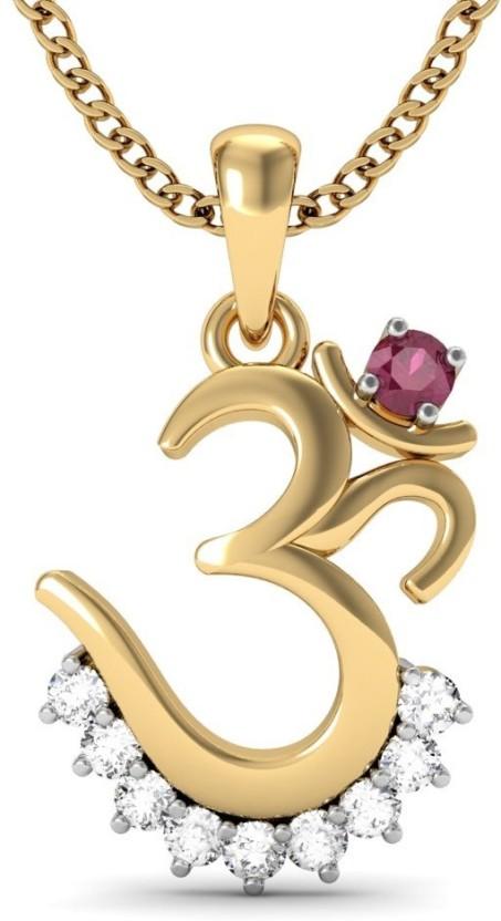 Vachya Om 18kt Diamond, Ruby Yellow Gold Pendant